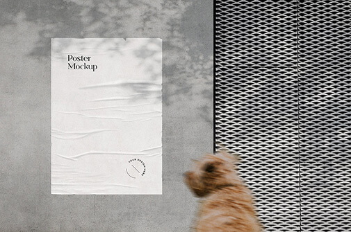 Free Attractive Glued Poster Mockup PSD Template2