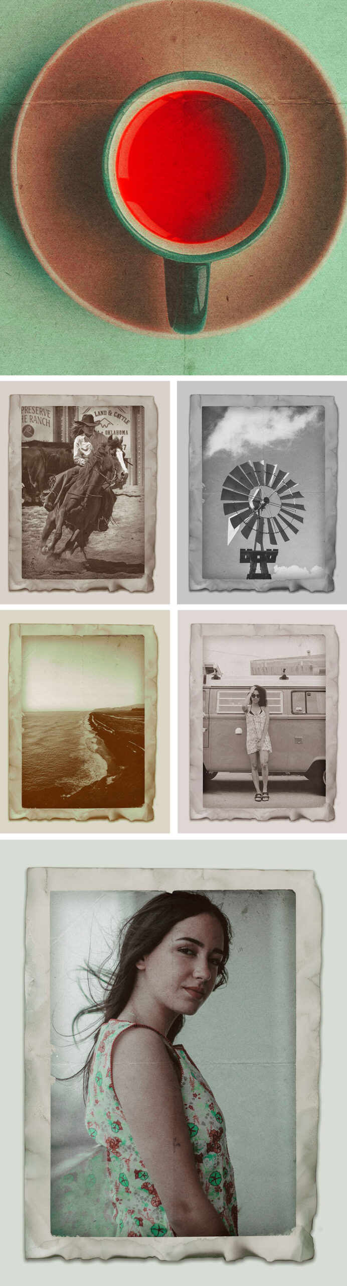 Free Authentic Vintage Photo Effects Mockup PSD Template