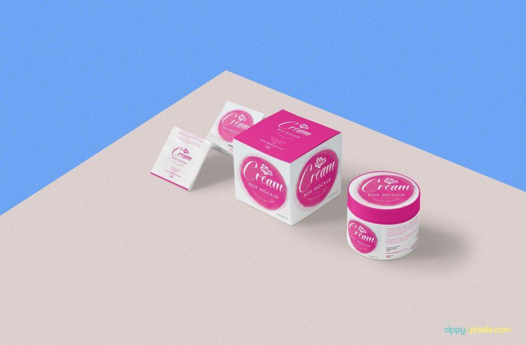 Free Beautiful Cosmetic Cream Mockup PSD Template3
