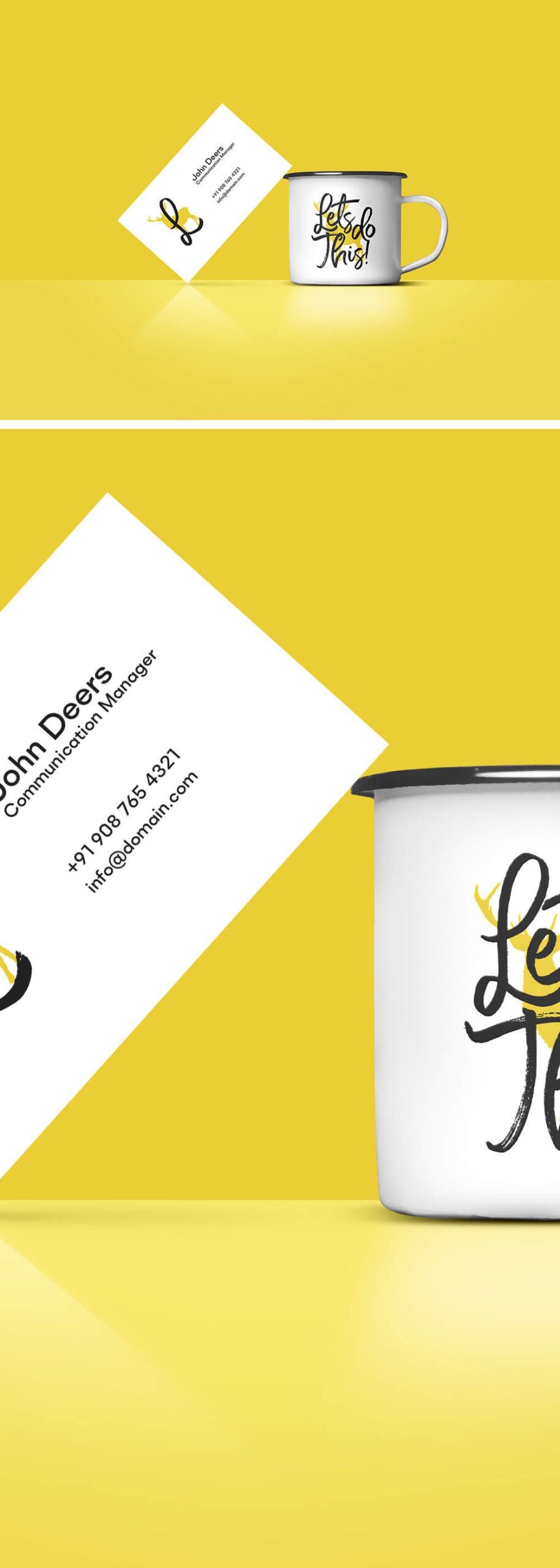 Free Business Card And Coffee Cup Mockup PSD Template