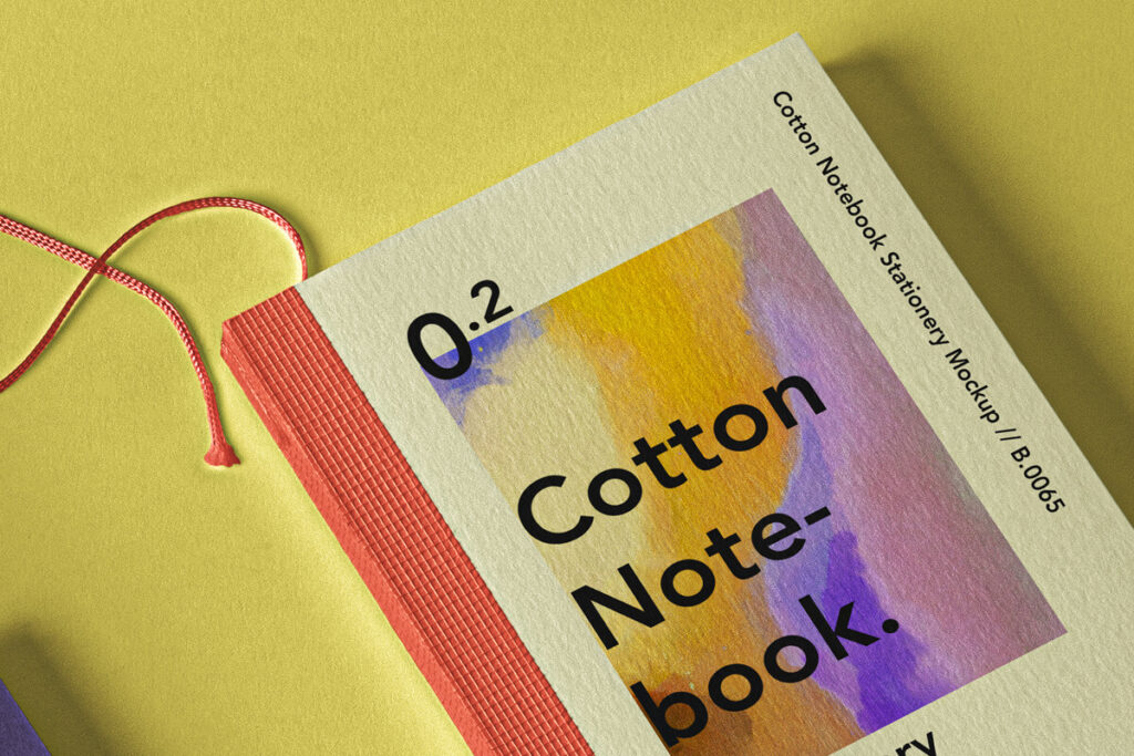 Free Cotton Textured Booklet Notebook Mockup Set PSD Template2