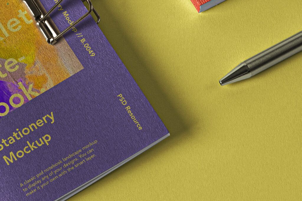 Free Cotton Textured Booklet Notebook Mockup Set PSD Template5