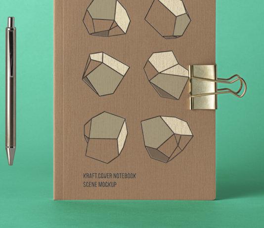 Free Cover Kraft Notebook Mockup PSD Template1
