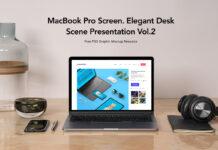 Free Desk MacBook Pro Scene Set Vol2 Mockup PSD Template1
