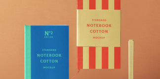 Free Elegant Cotton Notebook Mockup PSD Template1