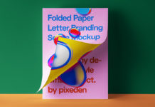 Free Folded Letter PSD Template Paper Mockup 2