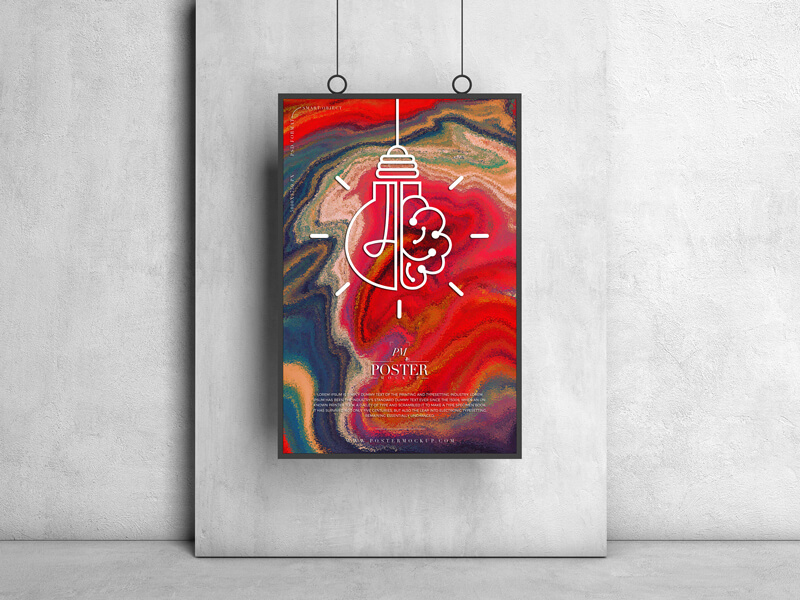 Free Hanging Frame Poster Mockup PSD Template3