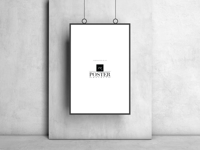 Free Hanging Frame Poster Mockup PSD Template4