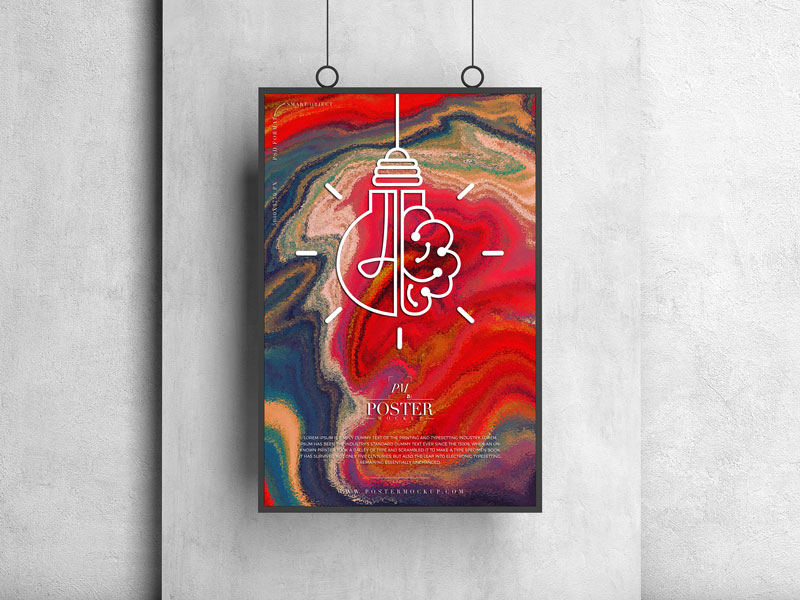 Free Hanging Square Frame Poster Mockup