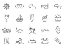Free Illustrated 20 Beach Vector Icons