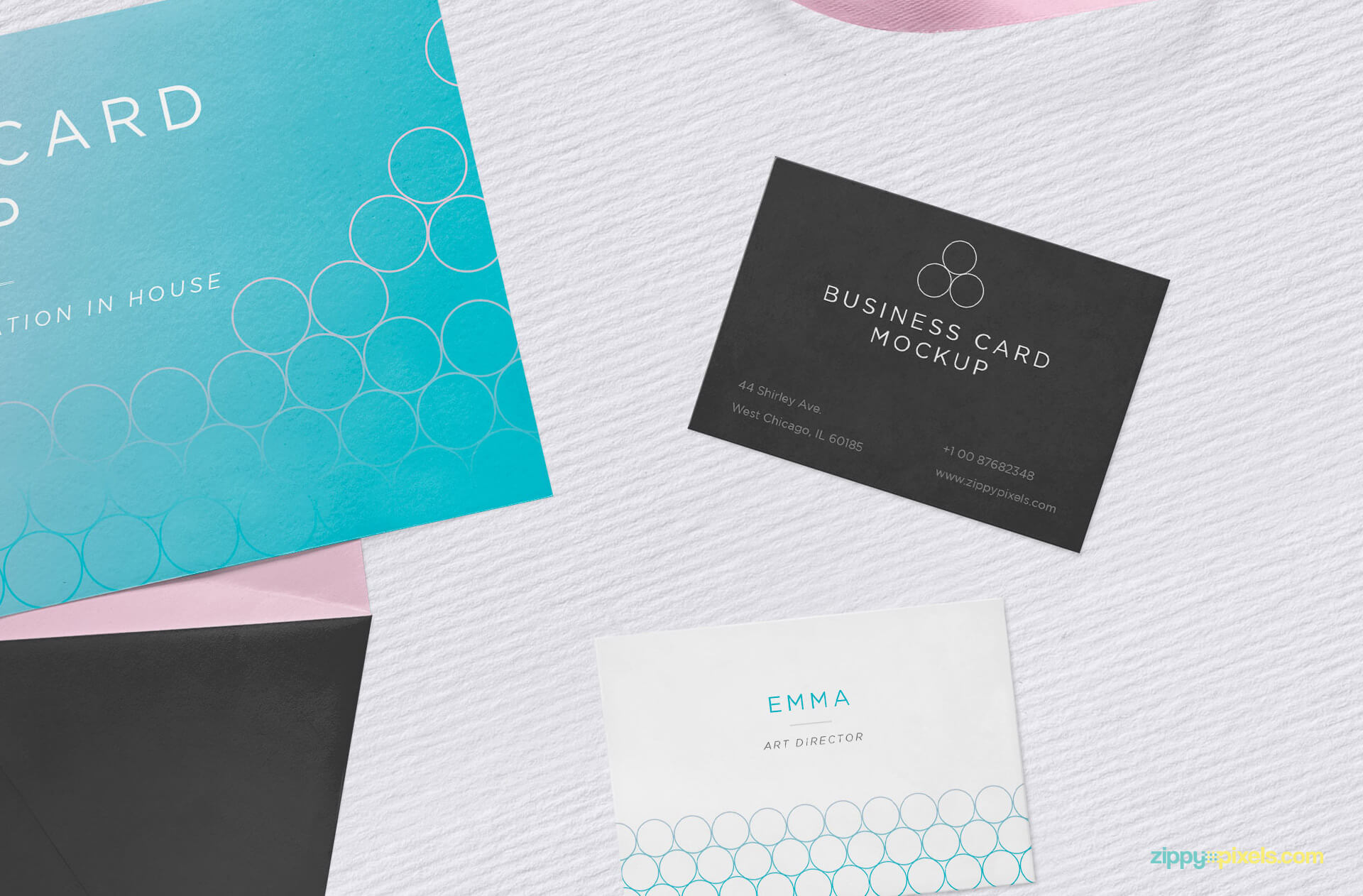Free Envelop with Invitation Card Mockup PSD