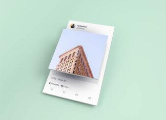 Free Isometric Twitter Post Mockup PSD Template