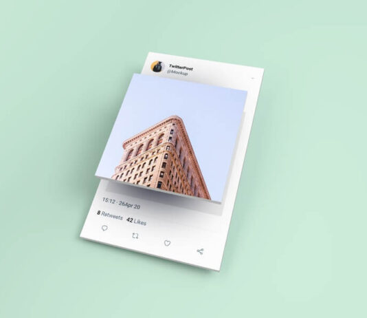 Free Isometric Twitter Post Mockup PSD Template
