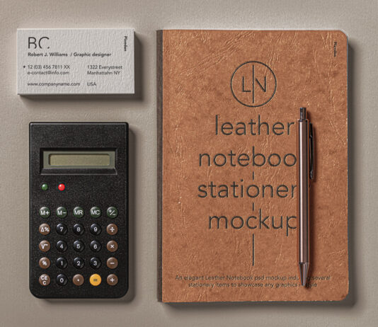 Free Leather Cover Notebook Mockup Set PSD Template1