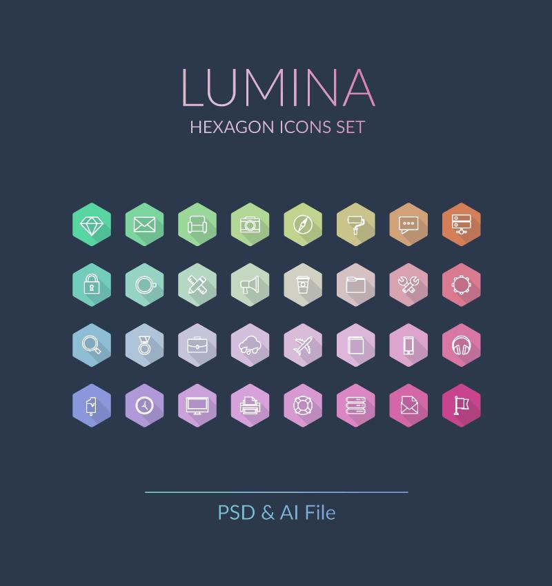 Free Lumina Hexagon Vector Icons Set
