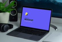 Free MacBook Air Mockup PSD Template