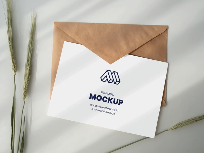 Free Paper Above Envelope Mockup PSD Template