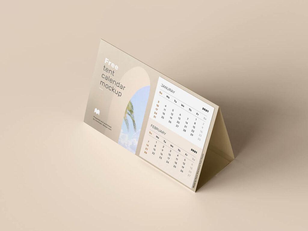 Free Realistic Tent Calendar Mockup PSD Template1