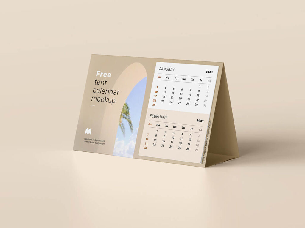 Free Realistic Tent Calendar Mockup PSD Template2