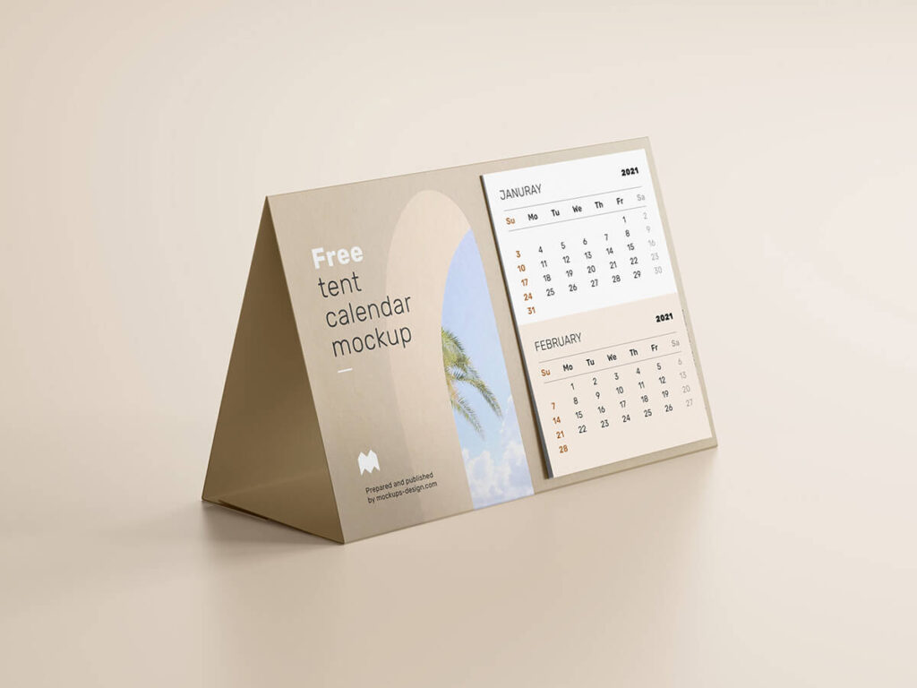 Free Realistic Tent Calendar Mockup PSD Template3
