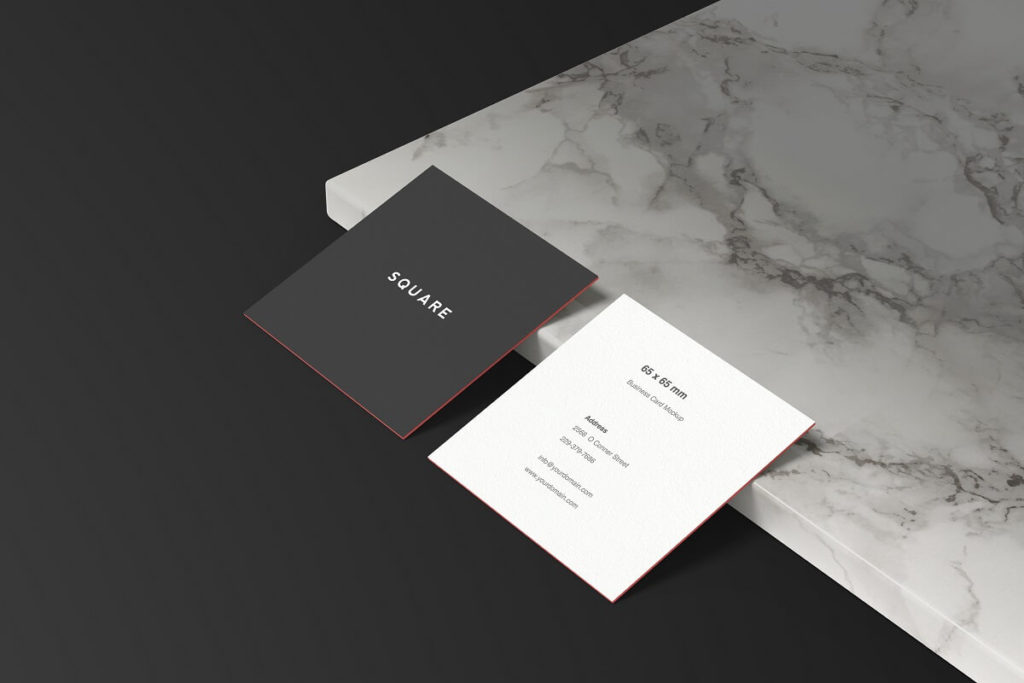 Free Square Business Card Mockup PSD Template2