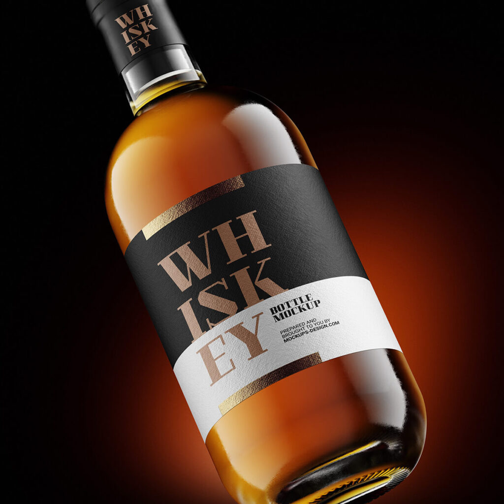 Free Whisky Bottle Mockup PSD Template1