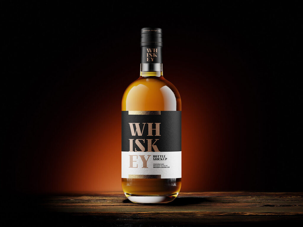 Free Whisky Bottle Mockup PSD Template3