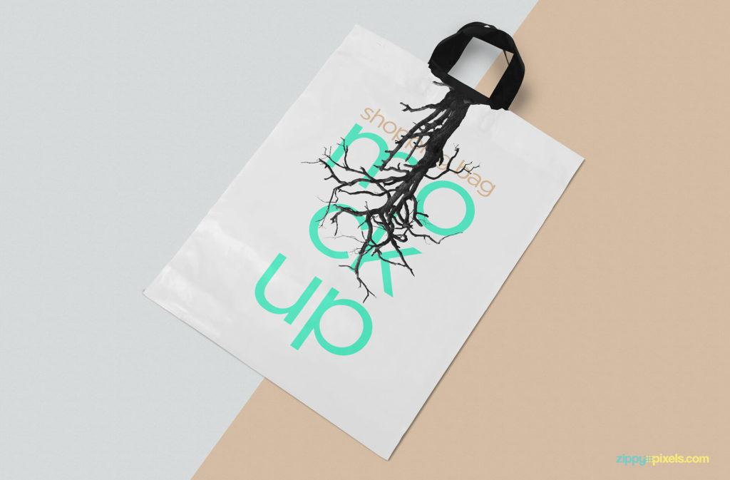 Free Glossy Polythene Shopping Bag Mockup