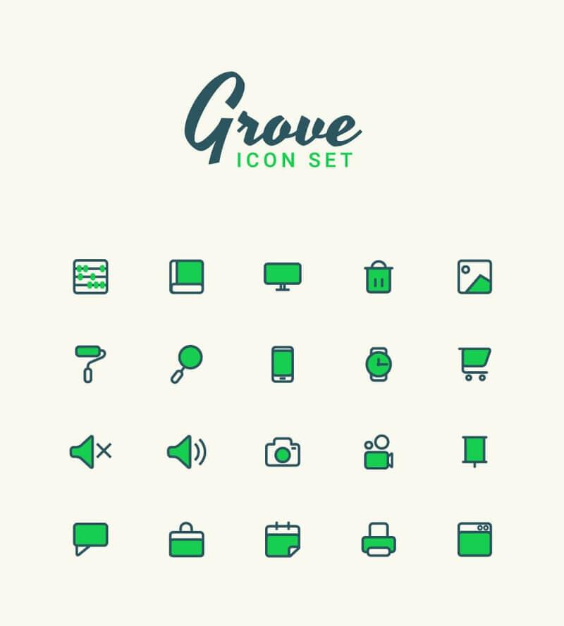 Grove Free Vector Icon Set (Ai)