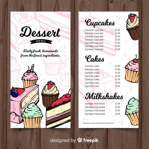 Hand drawn dessert menu template Free Vector