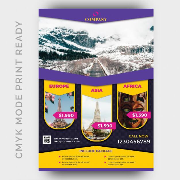 Holiday tour & travel flyer design template Premium Psd (1)