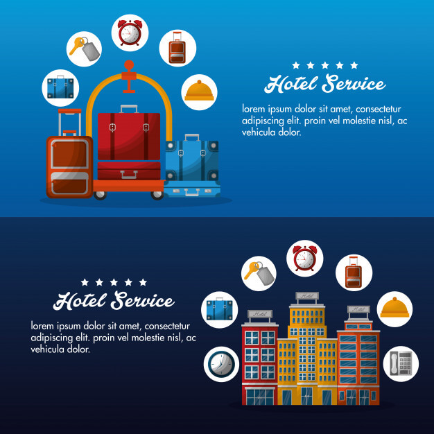 Hotel service brochure advertising banner Premium Vector