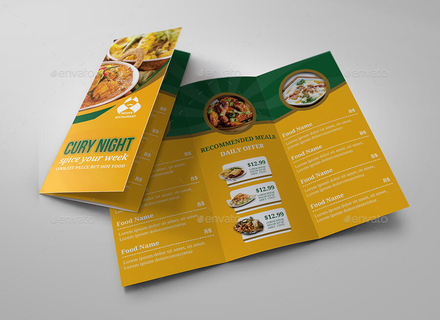 Indian Restaurant Food Menu Tri-Fold Brochure Template (1)