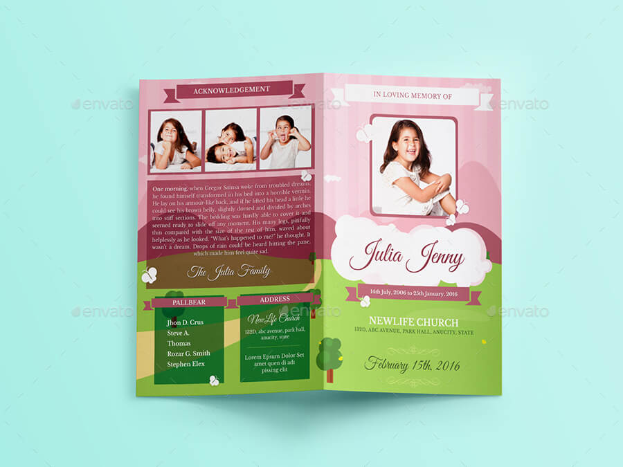 Little Angel Boy Girl Kid Funeral Brochure Template (1)