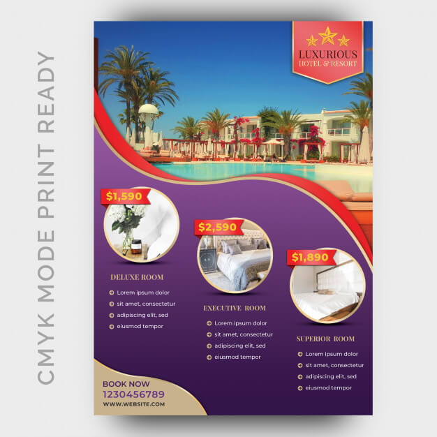 Luxury hotel template for poster, flyer, magazine page Premium Psd