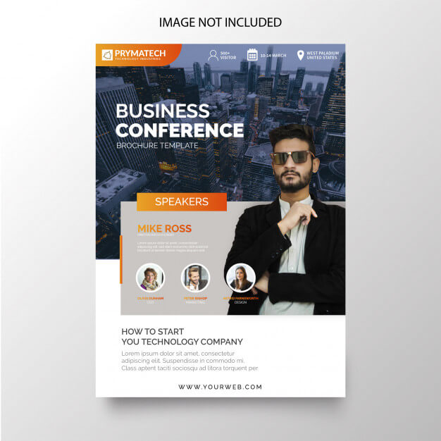 Modern business conference flyer Free Vector (1)