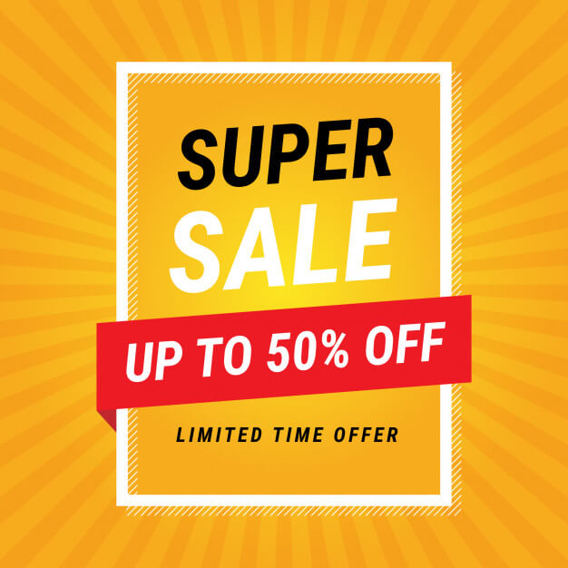 Modern super sale yellow banner design Free Vector (1)
