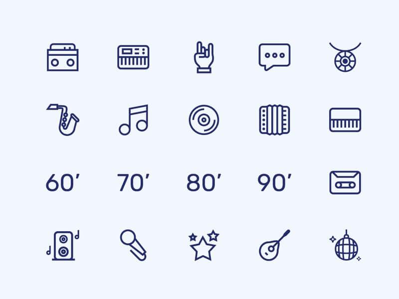 Free Music Line Icons Set (Ai)