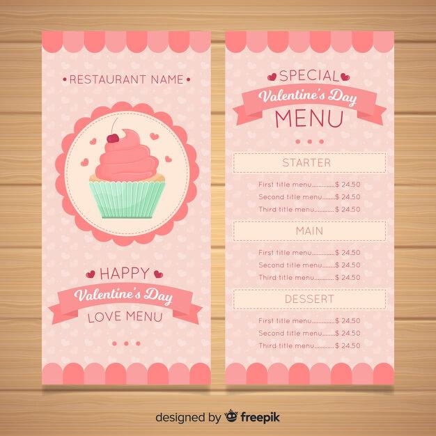 Pastel color cupcake valentine menu template Free Vector