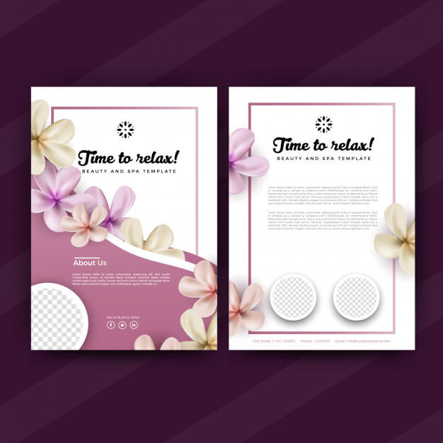Pink spa flyer or brochure design template Premium Vector
