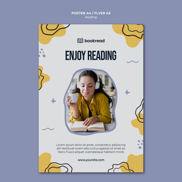 Reading concept poster template Free Psd (1)