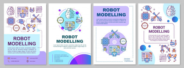 Robot modelling brochure template. artificial intelligence. Premium Vector