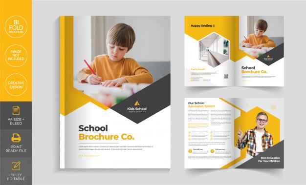 School admission bi fold brochure template Premium Vector