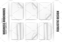 Set Of Blank White Paper Brochure