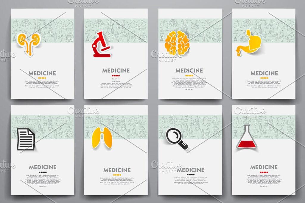 Set of medicine brochures