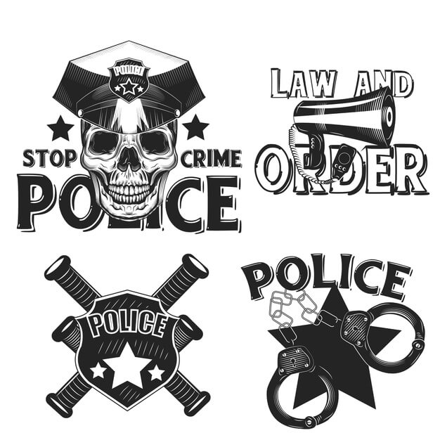 Set of vintage police emblems isolated on white Free Vector (1)