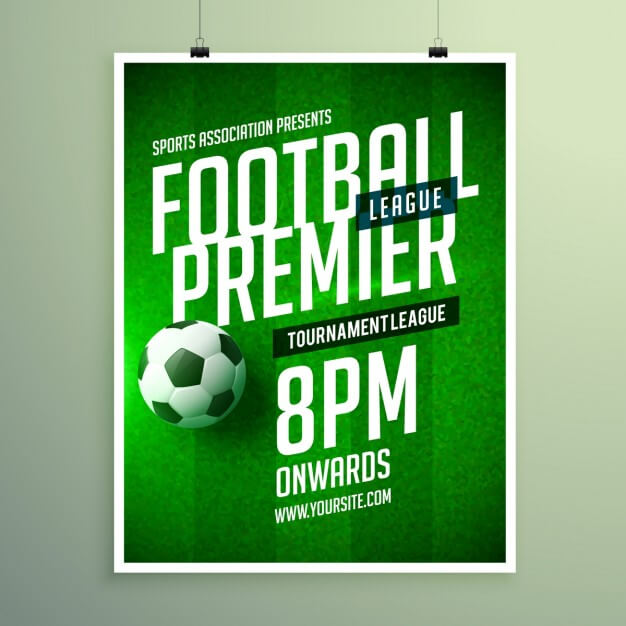 Soccer league brochure, invitation template Free Vector