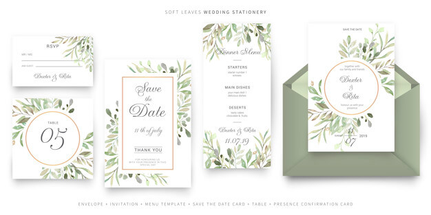 Soft leaves wedding stationery Free Vector (1)