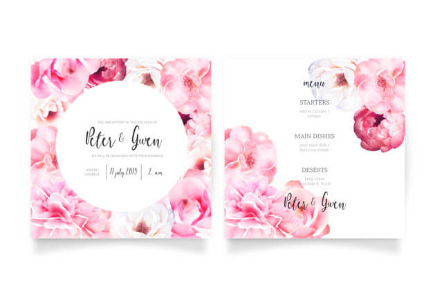Soft pink wedding invitation template with menu Free Vector (1)