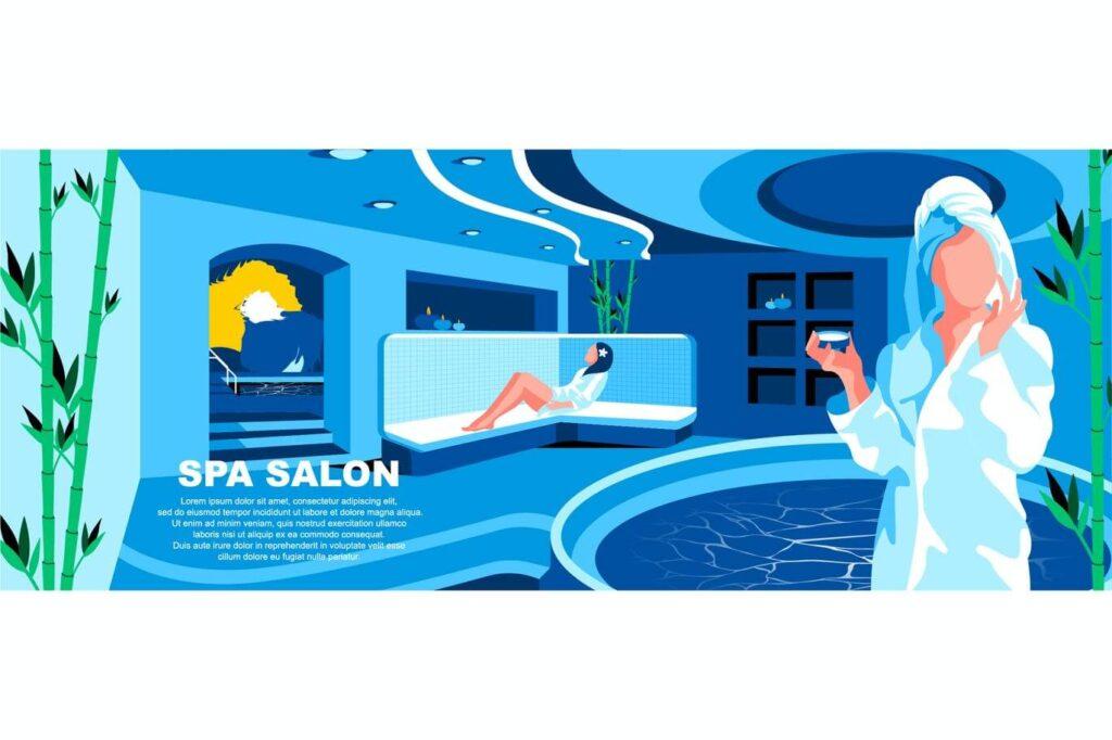 Spa Salon Flat Concept Landing Page Header